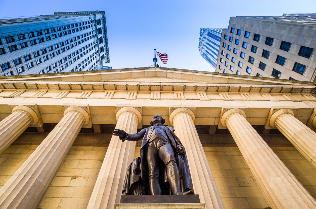 Federal hall facade on wall street